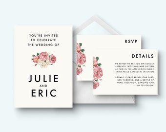 Printable invitation set, Hipster Minimalist invitation, Invitation suite, Invitation kit, save the date, Invitation, RSVP card, details
