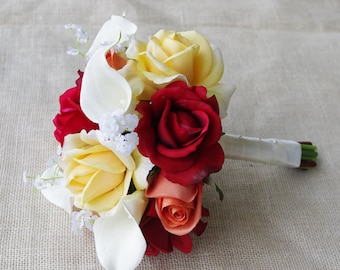 Fall Wedding Natural Touch Off White, Orange Red and Yellow Roses Silk Flower Bride Bouquet - Almost Fresh