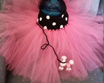 Birthday 50's Poodle Pink and Black Costume Flower Girl Tutu Dress skirt