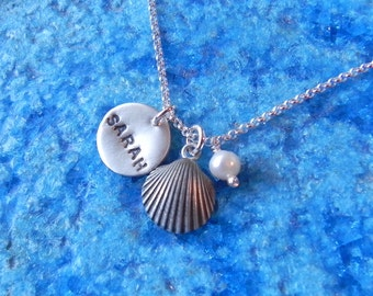 Personalized sterling silver disc, sea shell and pearl necklace with date, name or initials gift for her bridal jewelry