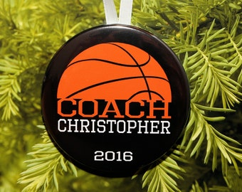 Basketball COACH Christmas Ornament - personalized - C186