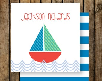 Personalized Calling Cards / Gift Tags / Kids / Sailboat