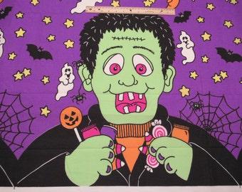 Panel Halloween Fabric Giant Frankenstein Ghosts Star Moon Bat Spider Webs on Purple Wall Hanging GID - Garven Greetings, Made in USA - OOP