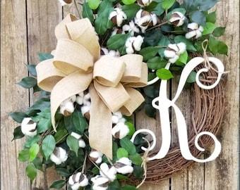 Cotton Wreath, Initial Wreath, Mother's Day Gift, Ficus Wreath, Fixer Upper Decor, Outdoor Wreaths, Farmhouse Wreath, Spring Wreath, Rustic
