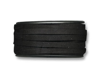 Ribbon suede flat black 6 mm x 1 m