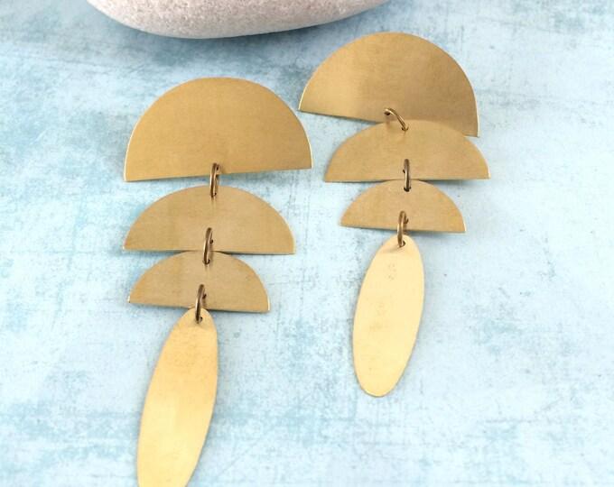 Boho geometric earrings - half moon brass earrings - long stud earrings - statement earrings - golden boho earrings - modern brass earrings