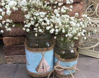 Mason Jar Wrap, Teepee, Floral, Tribal, Rose, Boho Baby, Mason Jar Decoration, Baby Shower, Party, Wedding, Home Decor