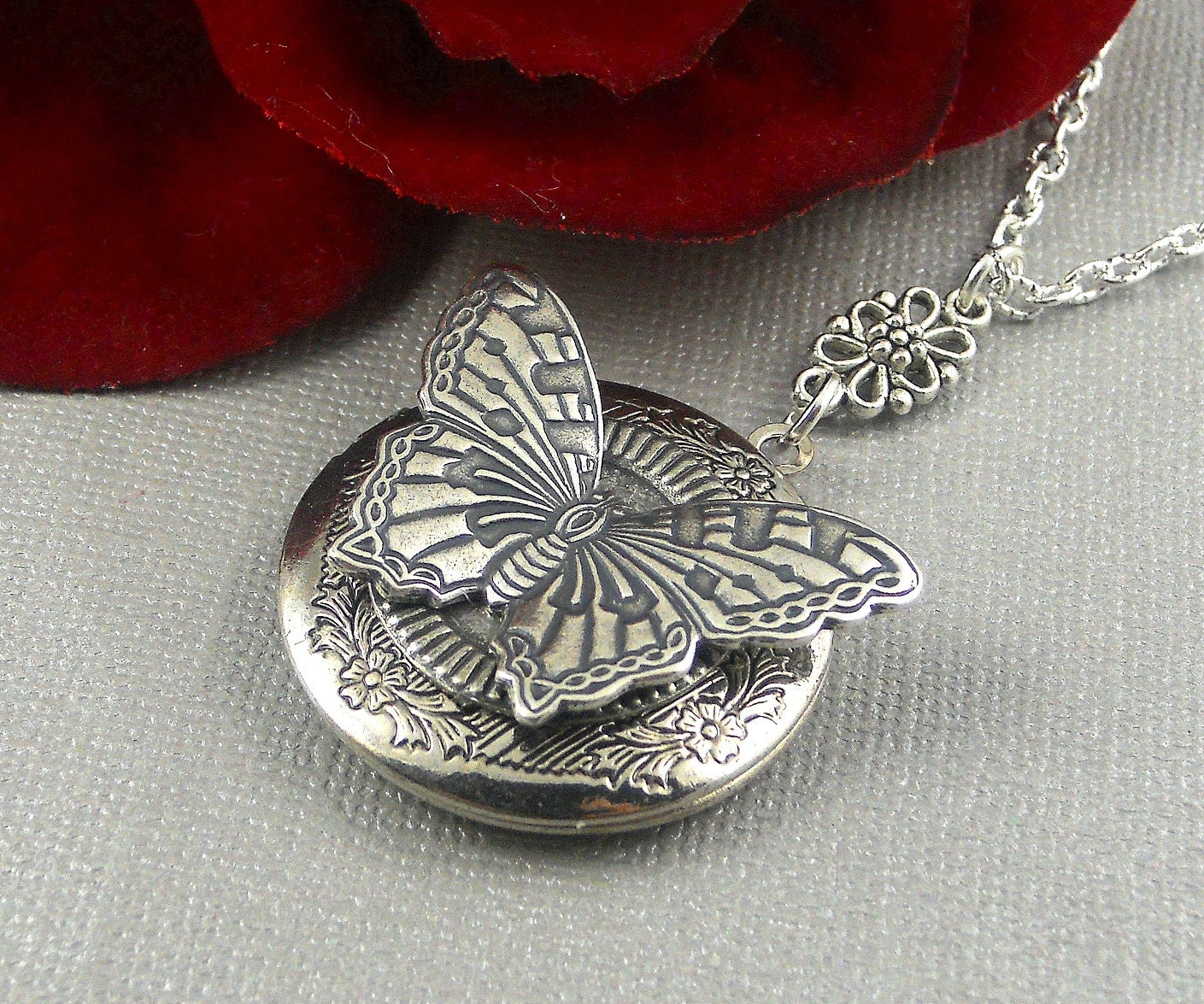 necklace silver market lockets etsy butterfly djih purple amethyst il locket antique