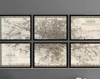 Paris Map. FRAMED Map set of 6 Archival Prints, Sectional Map Set with 6 frames 11x14