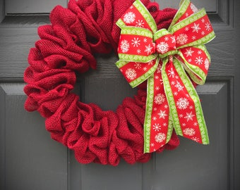 Red Burlap Wreath, Red Christmas Wreath, Red Door Wreaths, Burlap Wreaths, Door Decor Burlap, Burlap Decor, Red Wreaths, Small Red Wreath