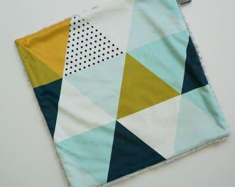 SALE Modern Triangle Lovey, Baby Boy Lovey, Triangle Print, Minky Baby Blanket, Minky Baby Lovey, Modern Baby Blanket, Minky Baby Boy Lovey
