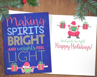 Weightlifting christmas cards 5 or 10 pack merry liftmas crossfit christmas cards making spirits bright and weights too light fitness weightlifting holiday greeting m4hsunfo