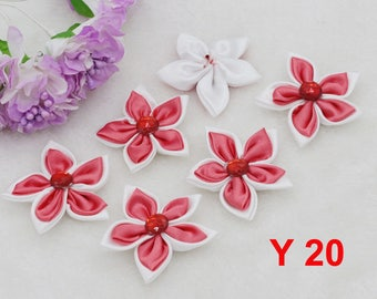 2 appliques to sew or stick form bright red flower and rhinestone