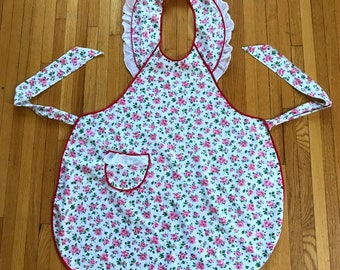 Homemade Vintage Apron with Pink Rose Print