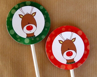 winter holiday rudolph the red nosed reindeer cupcake cake toppers decorations can be personalized - set of 12