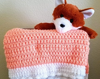 "Peach and White ""Creamsicle"" Baby Blanket"