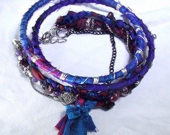 Sari Silk Wrap Bracelet Set Layered Boho Bracelet Set Purple Boho Chic Bracelet Layered Wrap Bracelet Set Tassel Bracelet Silk Wrap Bangles