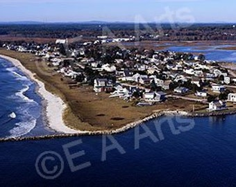 Pine Point Aerial Scarborough Maine Panoramic Photography Maine Color Art Print Coastal Wall Decor