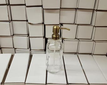 Clear Glass Soap Dispenser - Glass Bottle with Brass Metal Soap Pump
