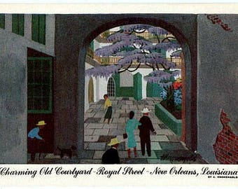 Vintage New Orleans Postcard - Old Courtyard on Royal Street -- Artist Signed, A. Kronengold (Unused)
