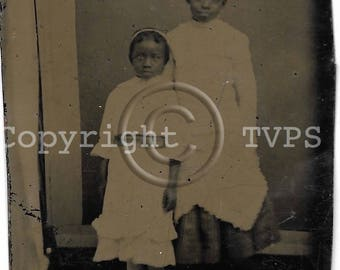 Vintage Tintype Photograph African American Sweetest Sisters