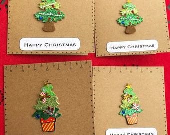 Glitter Tree Christmas Cards (Pack of 4)