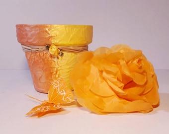 Yellow-orange pots  garden decor plant holder homedecor handpainted  centerpiece tabledecor gift for mother,  wife, giftidea for anniversary