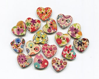 set hearts, 2, 5cm, wood pattern buttons