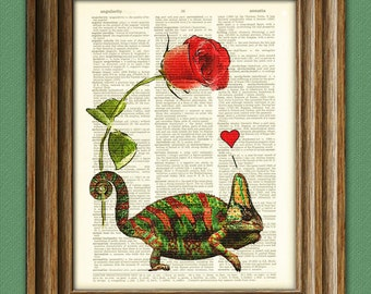 I Love You red chameleon with rose and heart upcycled vintage dictionary page book art print