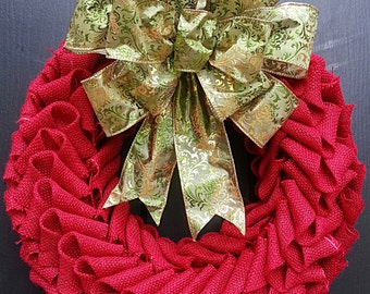 Red Burlap Petal Christmas Wreath with Green Bow, Christmas wreath, holiday wreath ...