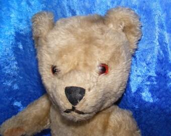 Old English Thoughtfull Looking Teddy Bear - Vintage Bear - British  - Thick Plush VVGC - Needs love