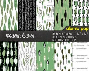 Instant Download // Modern Green Leaf Mid-Century Wallpaper Digital Paper Pack// Seamless Photoshop Patterns