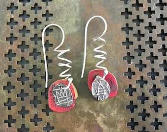 Asymetrical Silver Fish Coil-Top Earrings