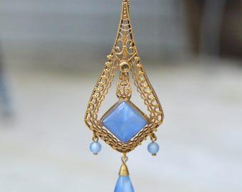 Vintage Czech Art Deco necklace, blue glass filigree, filigree, blue statement, Art Deco large pendant, Art Deco glass