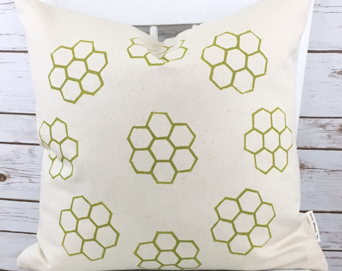 Organic canvas pillow cover - Honeycomb in seagrass