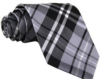 Men's Plaid Black Gray White Regular Necktie, for Formal Occasions
