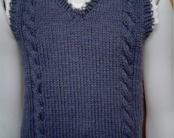 Hand Knit Child V-neck Sweater Vest, size 3-4T Steel Blue trimmed with soft white