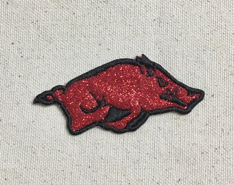 """Razorback Hog 3"""" - Glitter - Custom Colors - Iron on Applique - Embroidered Patch"""