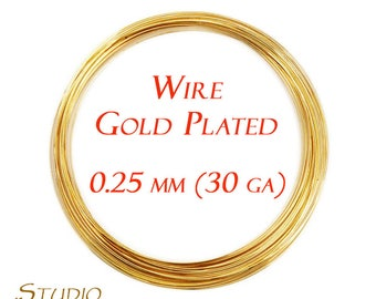 ON SALE!!! 4.5 meters (15 Feet) Gold Plated wire 0.25 mm, 30 Gauge, Wire, Wire Wrapping, Gold Plated wire, Gold Plated, Gold Plated findings