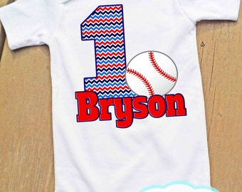 First Birthday Baseball Bodysuit or Tshirt - Personalized - Boy Birthday