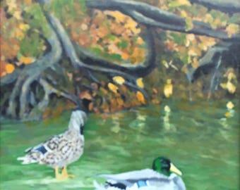 Ducks on the Pond, Original Acrylic Painting on Canvas, Framed