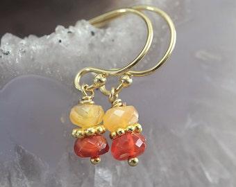 Fire Opal Earrings - Dainty Gemstone Earrings - October Birthstone Earrings - Opal Jewelry - Orange Autumn Earrings
