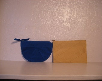 70s-80s ultrasuede clutches, set of two clutches, royal blue and camel ultrasuede small chic clutches by Laurice Keyloun.