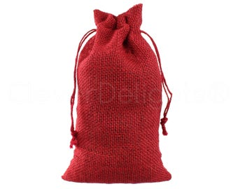 "50 Pack - 6"" x 10"" Red Burlap Bags - Natural Burlap Bags with Jute Drawstring for Christmas and Holiday Gifts - Rustic Decor Favor Pouch"