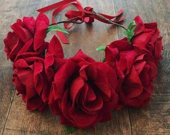 Red rose flower crown, flower headband, flower wreath, rose headband, rose crown, rose hair accessory, flowergirl headband