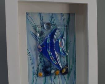Aquarium, Angel fish mixed media fused glass and water color wall art. Shadow box.