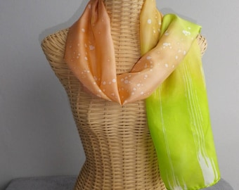 felted scarf, silk, salmon and green anis@evysoie shawl