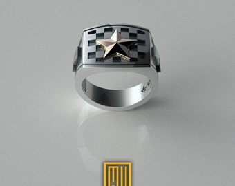 Masonic Tile Ring With Golden Star Unique Design for Men 925K Sterling Silver