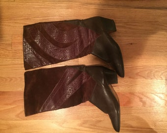 Vintage Italian Brown Leather and Suede Boots - 39.5 (size 8.5)