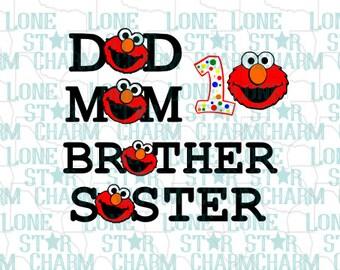 Elmo Family Birthday SVG set